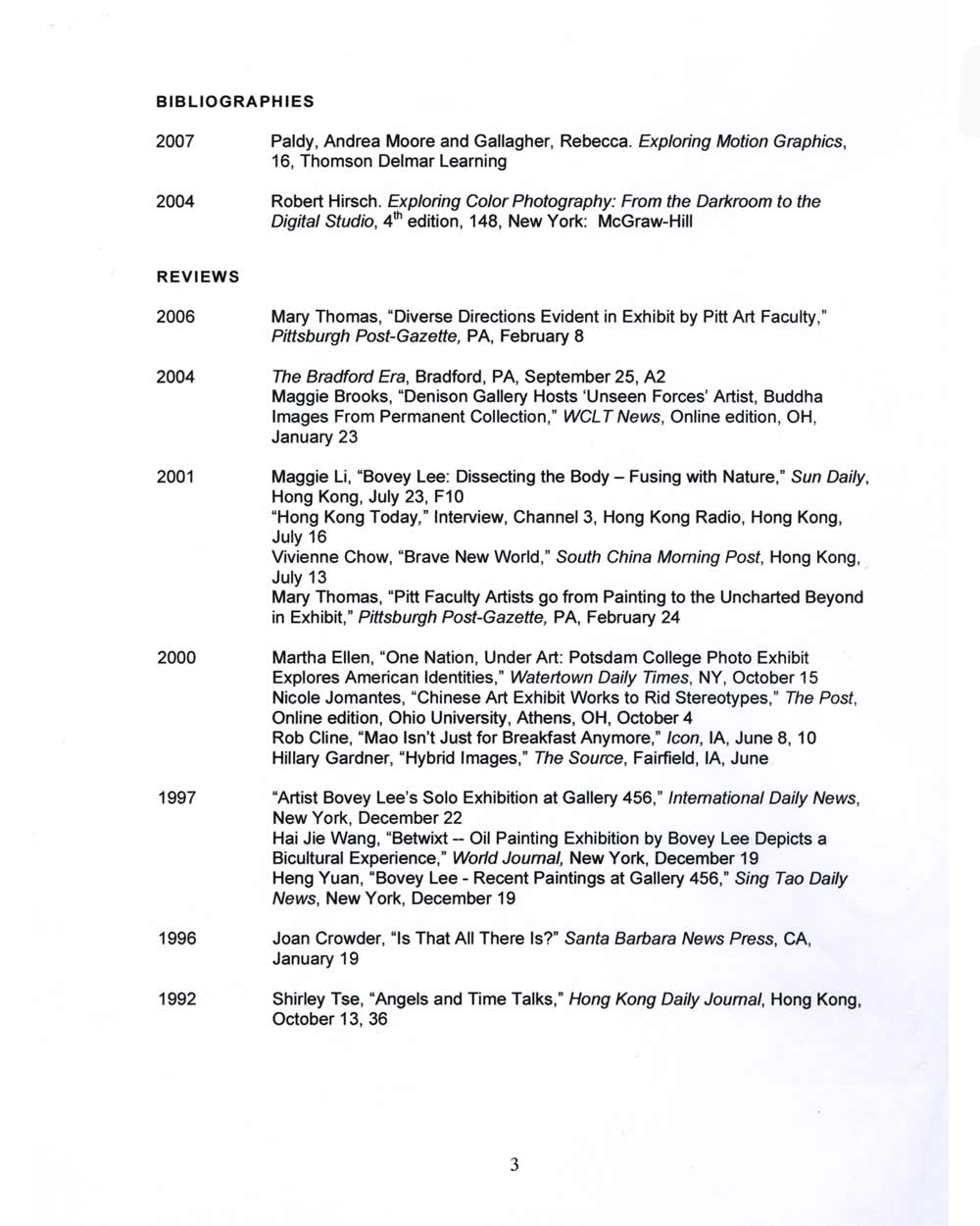 Bovey Lee's Resume, pg 3